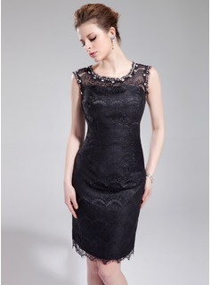Sheath Scoop Neck Knee-Length Charmeuse Lace Cocktail Dress With Beading