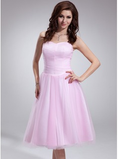 A-Line/Princess Sweetheart Tea-Length Tulle Charmeuse Homecoming Dress With Ruffle
