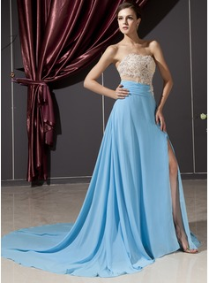A-Line/Princess Sweetheart Chapel Train Chiffon Tulle Evening Dress With Lace Beading Split Front