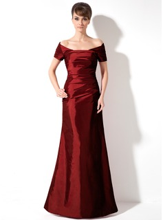 Sheath Off-the-Shoulder Floor-Length Taffeta Holiday Dress With Ruffle