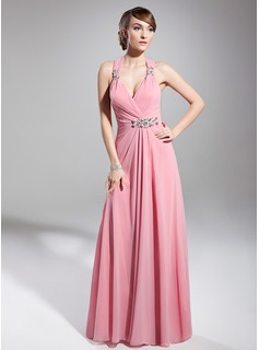 A-Line/Princess Halter Floor-Length Chiffon Holiday Dress With Ruffle Beading (020014711)