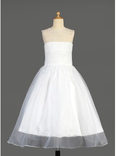 A-Line/Princess Scoop Neck Ankle-Length Organza Flower Girl Dress With Ruffle Beading Sequins