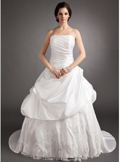 Ball-Gown Strapless Court Train Taffeta Lace Wedding Dress With Ruffle Beading