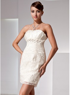 Sheath Scalloped Neck Short/Mini Satin Lace Cocktail Dress With Beading