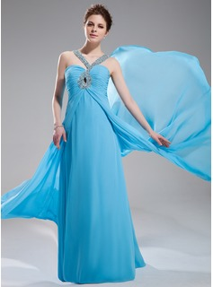 Empire V-neck Sweep Train Chiffon Evening Dress With Ruffle Beading