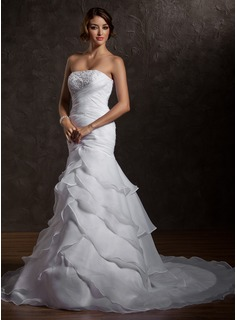 Trumpet/Mermaid Strapless Court Train Organza Wedding Dress With Ruffle Beading Sequins
