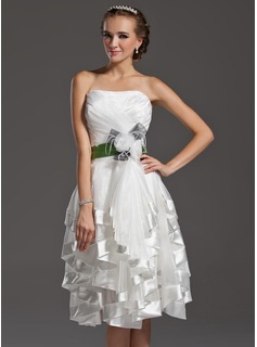 A-Line/Princess Sweetheart Knee-Length Organza Charmeuse Homecoming Dress With Sash Feather Flower(s) Bow(s) Cascading Ruffles