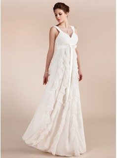 Empire Sweetheart Floor-Length Chiffon Charmeuse Wedding Dress With Bow(s) Cascading Ruffles