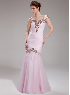 Trumpet/Mermaid Sweetheart Floor-Length Tulle Prom Dress With Ruffle Lace Beading Sequins