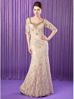 Mermaid Sweetheart Floor-Length Charmeuse Lace Mother of the Bride Dress With Beading Sequins