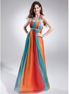 Empire Halter Floor-Length Chiffon Holiday Dress With Ruffle (020015836)