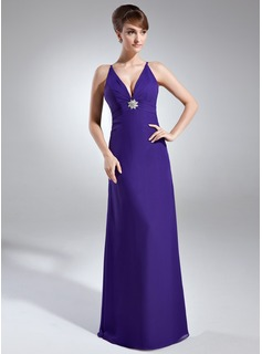 Sheath V-neck Floor-Length Chiffon Holiday Dress With Ruffle Crystal Brooch