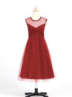 A-Line/Princess Scoop Neck Tea-Length Chiffon Tulle Junior Bridesmaid Dress With Ruffle (009022483)
