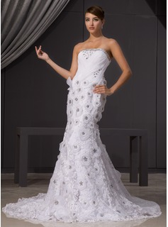 Mermaid Strapless Chapel Train Organza Lace Wedding Dress With Beadwork Flower(s)