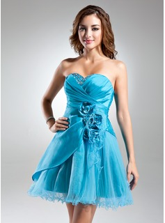 A-Line/Princess Sweetheart Knee-Length Taffeta Tulle Cocktail Dress With Ruffle Beading Flower(s) (016015582)