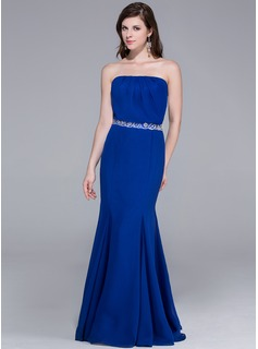 Mermaid Strapless Floor-Length Chiffon Evening Dress With Ruffle Beading