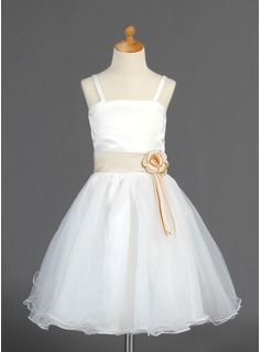 A-Line/Princess Knee-Length Organza Satin Flower Girl Dress With Sash Flower(s) (010014663)