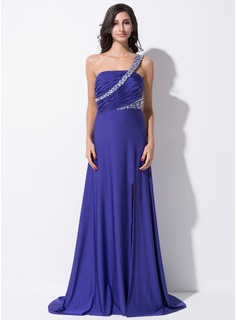 A-Line/Princess One-Shoulder Sweep Train Jersey Evening Dress With Ruffle Beading Sequins Split Front