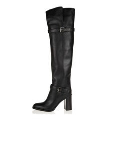 Real Leather Chunky Heel Pumps Closed Toe Over The Knee Boots With Buckle shoes