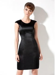 Sheath Scoop Neck Knee-Length Satin Cocktail Dress
