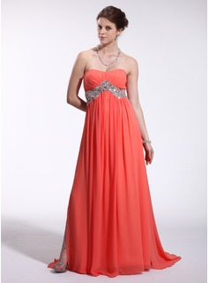 Empire Sweetheart Sweep Train Chiffon Tulle Holiday Dress With Beading (022026268)