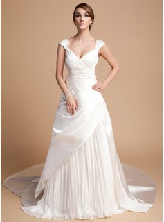 A-Line/Princess Sweetheart Cathedral Train Chiffon Satin Tulle Wedding Dress With Ruffle