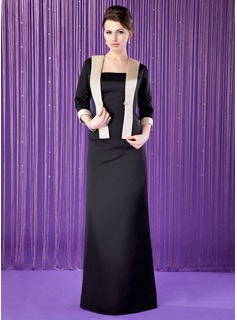 Sheath/Column Strapless Floor-Length Satin Mother of the Bride Dress