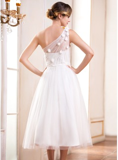 A Line Princess One Shoulder Tea Length Tulle Wedding Dress With Ruffle Beading Flowers