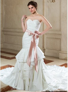 Trumpet/Mermaid Sweetheart Cathedral Train Taffeta Charmeuse Wedding Dress With Sash Bow(s) Cascading Ruffles