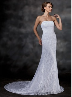 Trumpet/Mermaid Sweetheart Chapel Train Satin Lace Wedding Dress