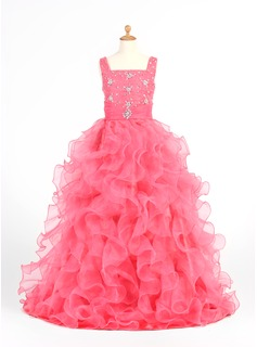 A-Line/Princess Scoop Neck Floor-Length Organza Satin Flower Girl Dress With Beading Cascading Ruffles