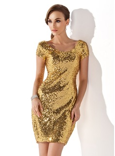 Sheath Scoop Neck Short/Mini Sequined Cocktail Dress (016008278)