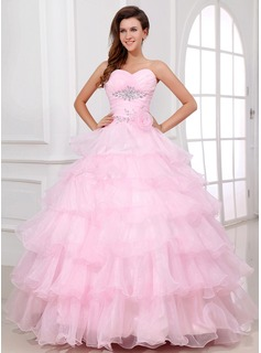 Ball-Gown Sweetheart Floor-Length Organza Quinceanera Dress With Beading Flower