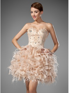 A-Line/Princess Sweetheart Short/Mini Organza Satin Homecoming Dress With Beading Feather Cascading Ruffles