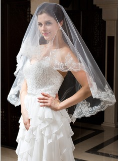 One-tier Blusher Bridal Veils/Elbow Bridal Veils With Lace Applique Edge