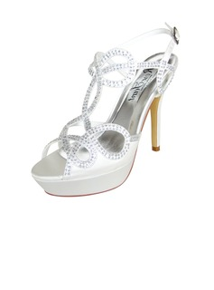 Women's Satin Stiletto Heel Peep Toe Platform Pumps With Rhinestone Button