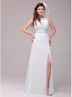 A-Line/Princess Scoop Neck Sweep Train Chiffon Evening Dress With Ruffle Beading (017014033)