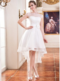 A-Line/Princess Scoop Neck Asymmetrical Organza Satin Wedding Dress With Lace Beading Flower