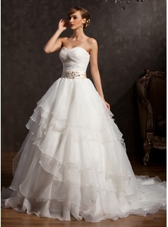 Ball-Gown Sweetheart Chapel Train Organza Charmeuse Wedding Dress With Lace Sash Sequins Bow(s) Cascading Ruffles