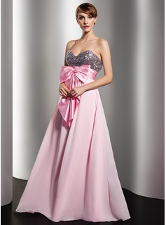 Empire Sweetheart Floor-Length Chiffon Charmeuse Sequined Holiday Dress With Ruffle Sash Bow(s)