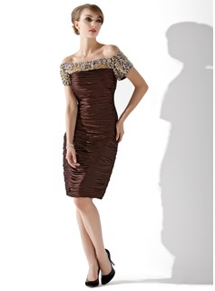 Sheath/Column Off-the-Shoulder Knee-Length Charmeuse Mother of the Bride Dress With Ruffle Beading Sequins