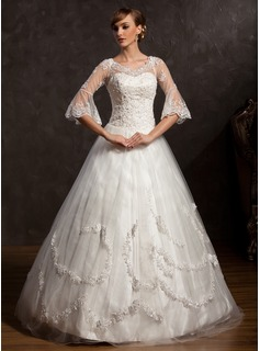 Ball-Gown V-neck Floor-Length Satin Tulle Wedding Dress With Lace Beadwork (002015168)