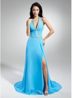 A-Line/Princess Halter Watteau Train Chiffon Evening Dress With Beading Sequins