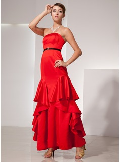 A-Line/Princess Strapless Floor-Length Satin Evening Dress With Sash Beading Cascading Ruffles