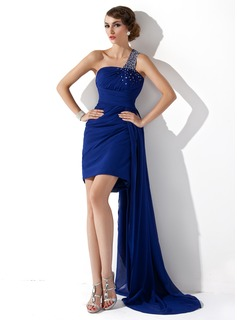 Sheath One-Shoulder Watteau Train Chiffon Cocktail Dress With Ruffle Beading