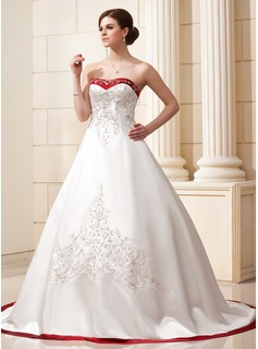Ball-Gown Sweetheart Chapel Train Satin Wedding Dress With Embroidery Sashes Beadwork Sequins