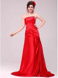 A-Line/Princess Strapless Sweep Train Taffeta Evening Dress With Ruffle Beading