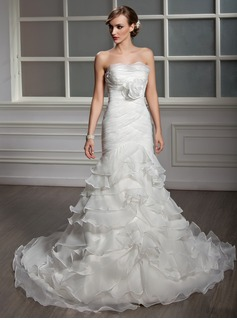 Mermaid Strapless Chapel Train Organza Satin Wedding Dress With Ruffle