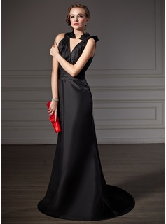 Mermaid V-neck Sweep Train Taffeta Evening Dress With Ruffle