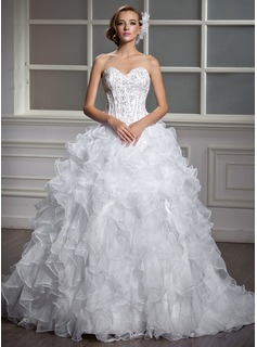 Ball-Gown Sweetheart Court Train Organza Satin Wedding Dress With Beading Sequins Cascading Ruffles